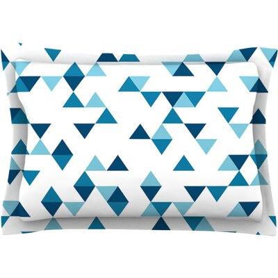 Triangles by Project M Featherweight Pillow Sham Size: King, Color: Blue/White, Fabric: Cotton