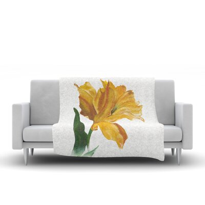 Yellow Tulip Throw Blanket Size: 80 L x 60 W