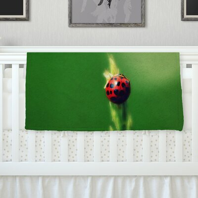 Ladybug Hugs Throw Blanket Size: 90 L x 90 W