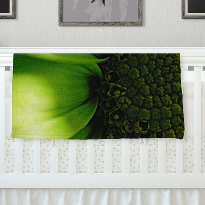 Green Flower Throw Blanket Size: 60 L x 50 W