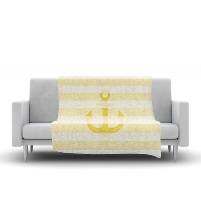 Stone Vintage Anchor Fleece Throw Blanket Size: 40 L x 30 W, Color: Yellow