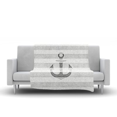 Stone Vintage Anchor Fleece Throw Blanket Size: 60 L x 50 W, Color: Gray