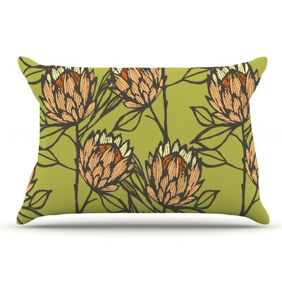 Gill Eggleston Protea Jade Flowers Pillow Case Color: Green/Orange