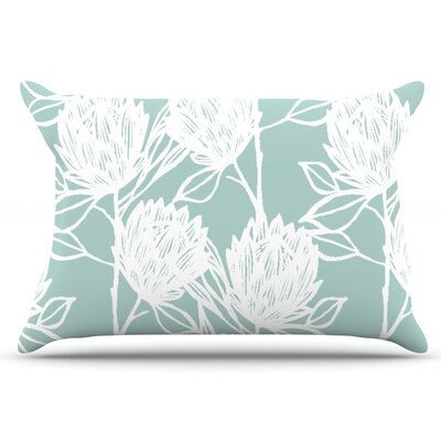 Gill Eggleston Protea Jade Flowers Pillow Case Color: White/Blue