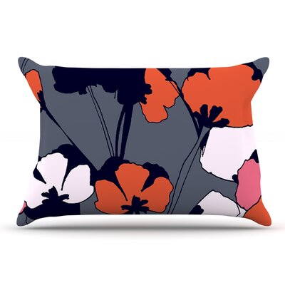 Gabriela Fuente Pop Flowers Pillow Case Color: Gray/Orange