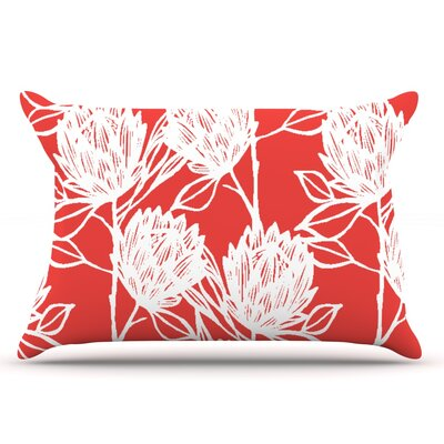 Gill Eggleston Protea Jade Flowers Pillow Case Color: White/Red