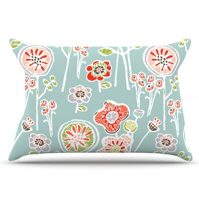 Gill Eggleston Folky Floral Lemon Pillow Case Color: Blue/Teal