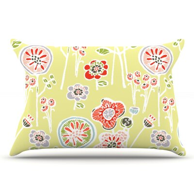 Gill Eggleston Folky Floral Lemon Pillow Case Color: Green/Yellow