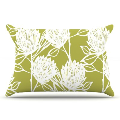 Gill Eggleston Protea Jade Flowers Pillow Case Color: White/Green