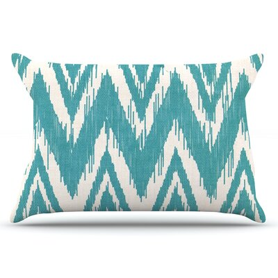 Heidi Jennings Tribal Chevron Black Pillow Case Color: Aqua