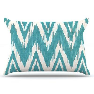 Heidi Jennings Tribal Chevron Black Pillow Case Color: Aqua