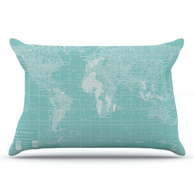 Catherine Holcombe Welcome To My World Quote Indigo Pillow Case Color: Aqua