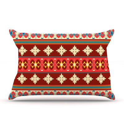 Nandita Singh Borders Pillow Case Color: Maroon