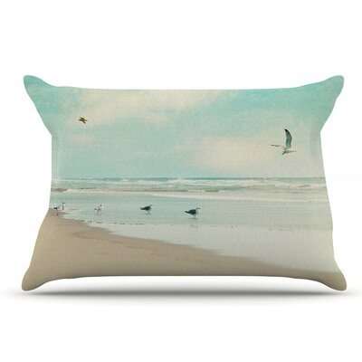 Sylvia Cook 'Away We Go' Beach Seagull Pillow Case