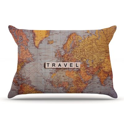 Sylvia Cook Travel Map World Pillow Case