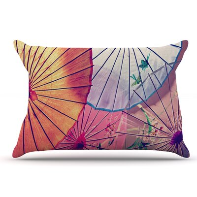 Sylvia Cook Colorful Umbrellas Pillow Case