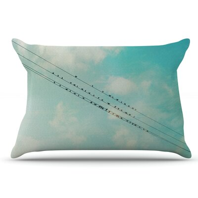 Sylvia Cook 'Birds On Wires' Sky Pillow Case