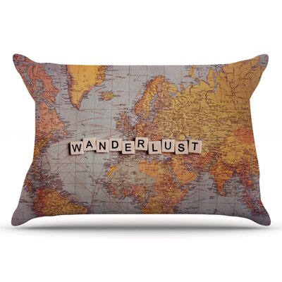 Sylvia Cook Wanderlust Map World Pillow Case