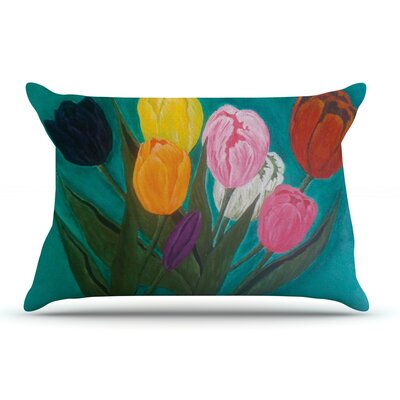 Christen Treat Tulips Rainbow Flower Pillow Case