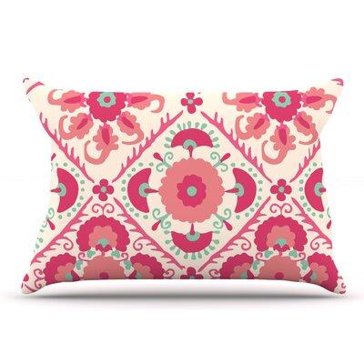 Laura Nicholson 'Bukhara Coral' Floral Pillow Case