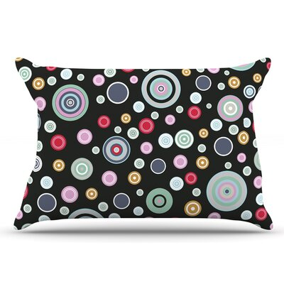 Suzanne Carter Circle Circle I Pillow Case Color: Black/Pink