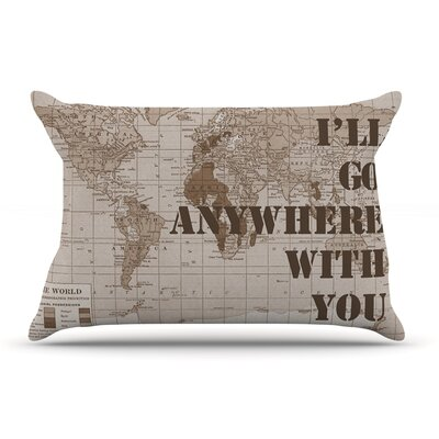 Catherine Holcombe 'I'Ll Go Anywhere With You' Map Pillow Case