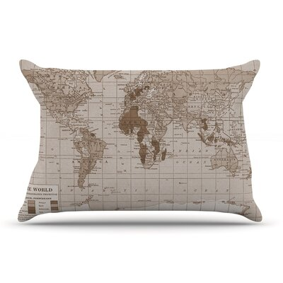 Catherine Holcombe Emerald World Vintage Map Pillow Case