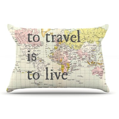 Catherine Holcombe 'To Travel Is To Live' Map Pillow Case