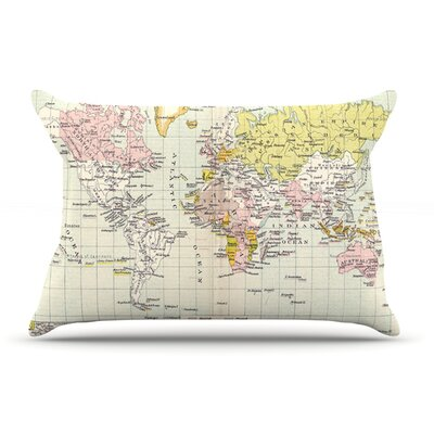 Catherine Holcombe Travel World Map Pillow Case