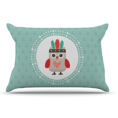 Daisy Beatrice Hipster Owlet Mint Coral Pillow Case