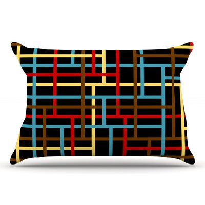 Trebam Veza Modern Lines Pillow Case Color: Red/Blue/Yellow