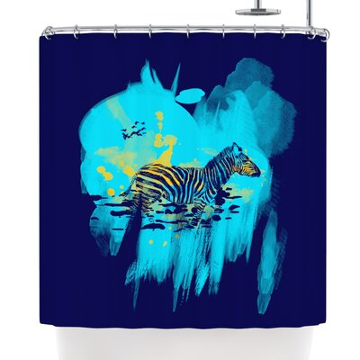 Frederic Levy-Hadida Watercolored Shower Curtain Color: Blue