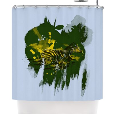 Frederic Levy-Hadida Watercolored Shower Curtain Color: Green