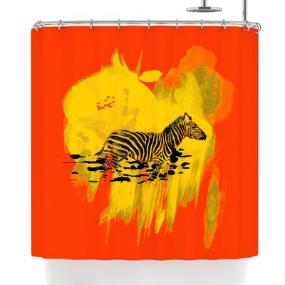 Frederic Levy-Hadida Watercolored Shower Curtain Color: Red