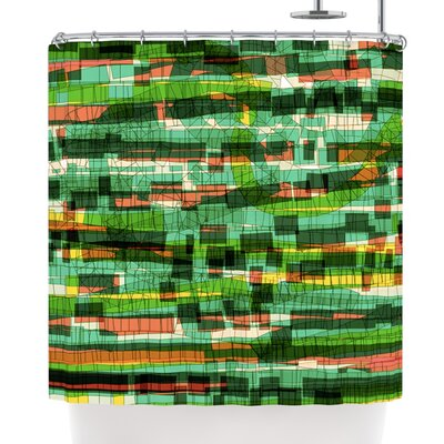 Frederic Levy-Hadida Squares Shower Curtain Color: Green