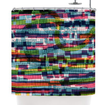Frederic Levy-Hadida Squares Shower Curtain Color: Purple