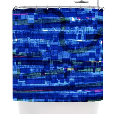 Frederic Levy-Hadida Squares Shower Curtain Color: Blue