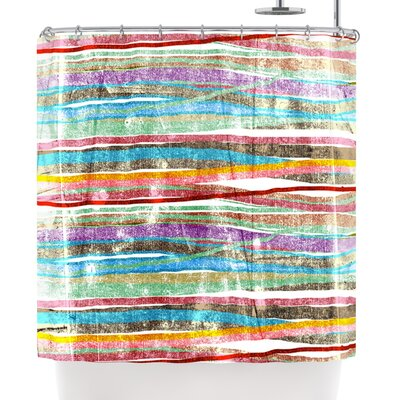 Frederic Levy-Hadida Fancy Stripes Light Shower Curtain Color: Green