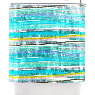 Frederic Levy-Hadida Fancy Stripes Light Shower Curtain Color: Acqua