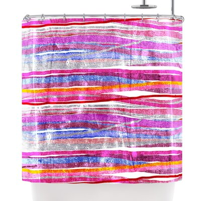 Frederic Levy-Hadida Fancy Stripes Light Shower Curtain Color: Pink