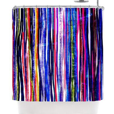 Frederic Levy-Hadida Fancy Stripes Dark Shower Curtain Color: Purple
