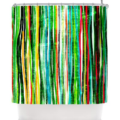 Frederic Levy-Hadida Fancy Stripes Dark Shower Curtain Color: Green