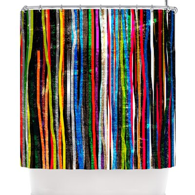 Frederic Levy-Hadida Fancy Stripes Dark Shower Curtain Color: Black