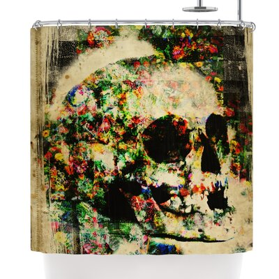 Frederic Levy-Hadida Floral Skully Shower Curtain