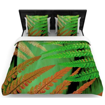 Forest Fern Russet Woven Duvet Cover Size: King/California King