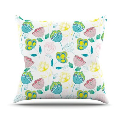 Indie Floral Throw Pillow Size: 18 H x 18 W
