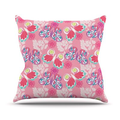 Baroque Butterflies Throw Pillow Size: 26 H x 26 W