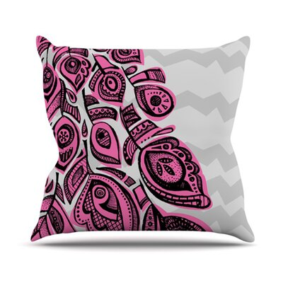 Peacock Throw Pillow Size: 26 H x 26 W, Color: Pink