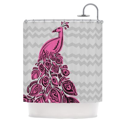 Peacock Shower Curtain Color: Pink