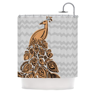 Peacock Shower Curtain Color: Yellow